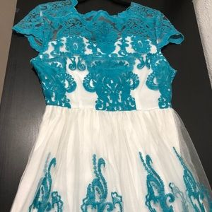Vintage Tulle Ivory and Teal Wedding/ Party Dress